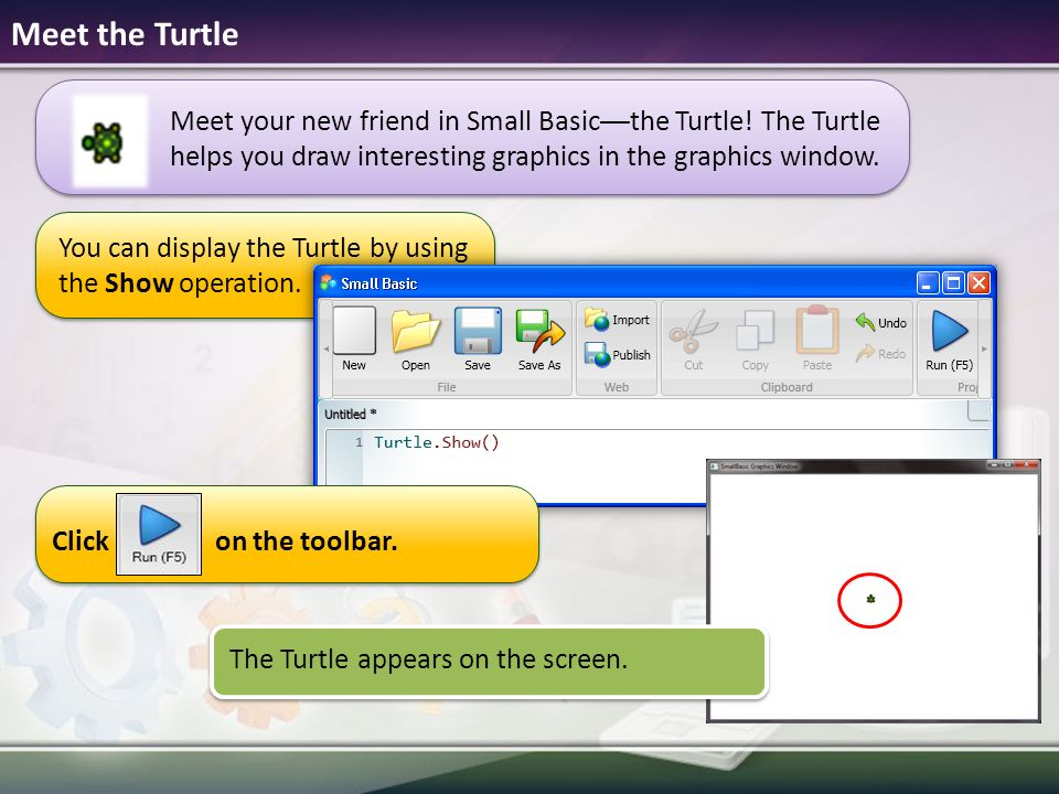 Microsoft small basic ppt download you can display the turtle by using the show operation ccuart Image collections