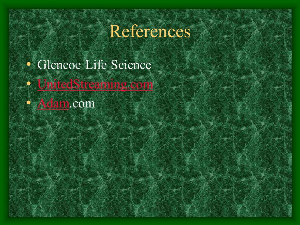 References Glencoe Life Science UnitedStreaming.com Adam.com