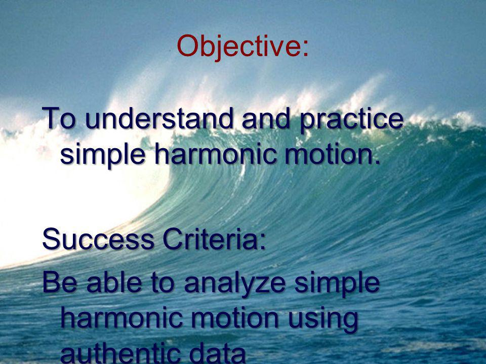 Objective: To understand and practice simple harmonic motion.