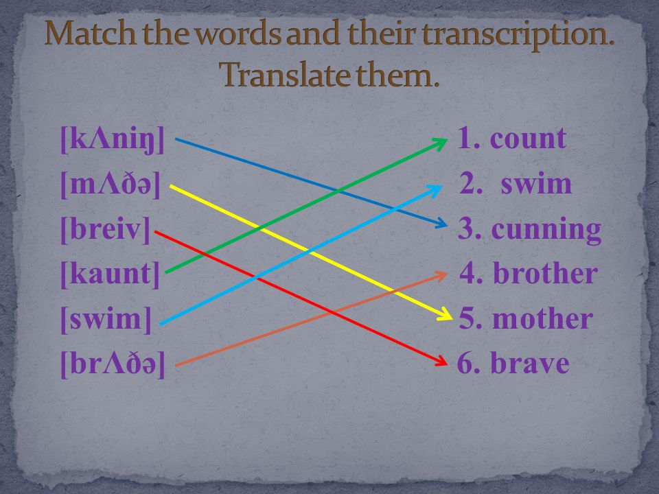Match the words and their transcription. Translate them.
