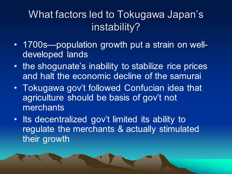 What factors led to Tokugawa Japan's instability