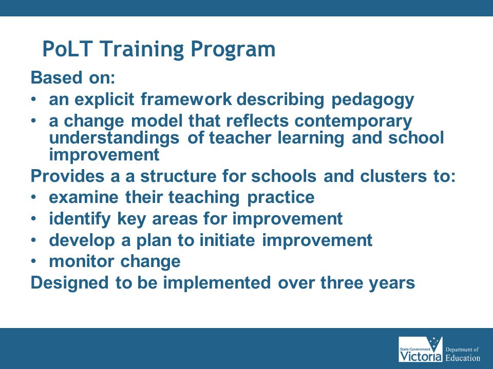 PoLT Training Program Based on: