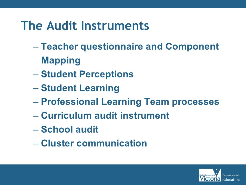 The Audit Instruments Teacher questionnaire and Component Mapping