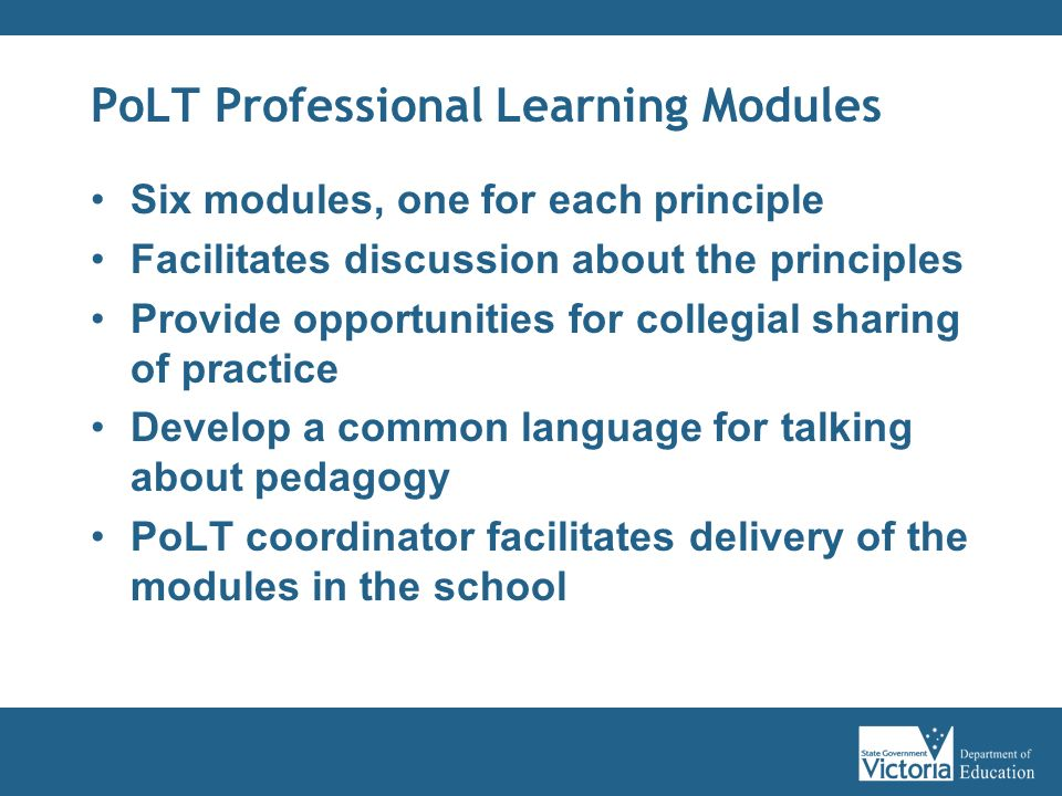PoLT Professional Learning Modules