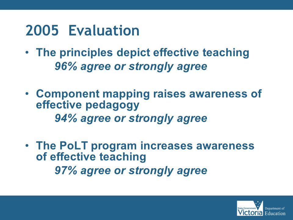 2005 Evaluation The principles depict effective teaching