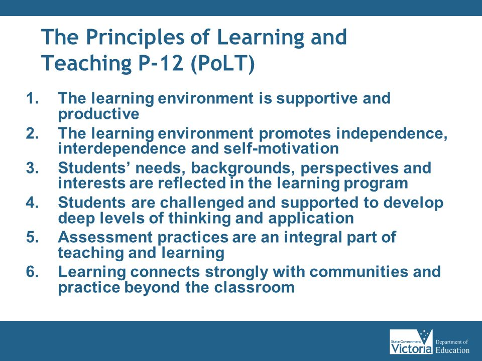 The Principles of Learning and Teaching P-12 (PoLT)