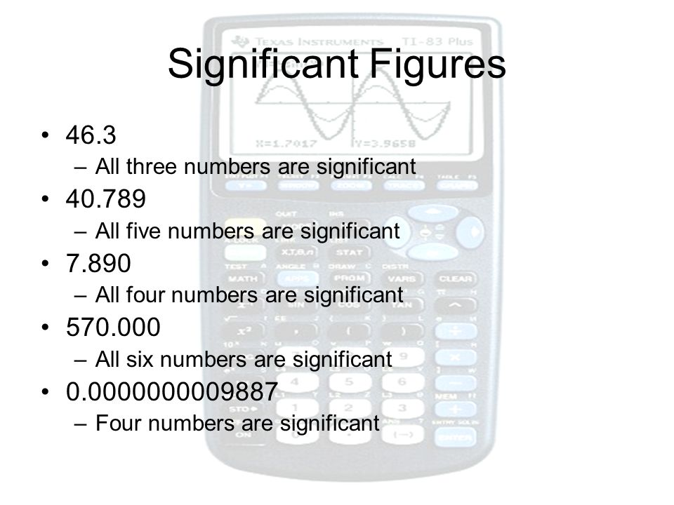 Significant Figures 46.3. All three numbers are significant. 40.789. All five numbers are significant.