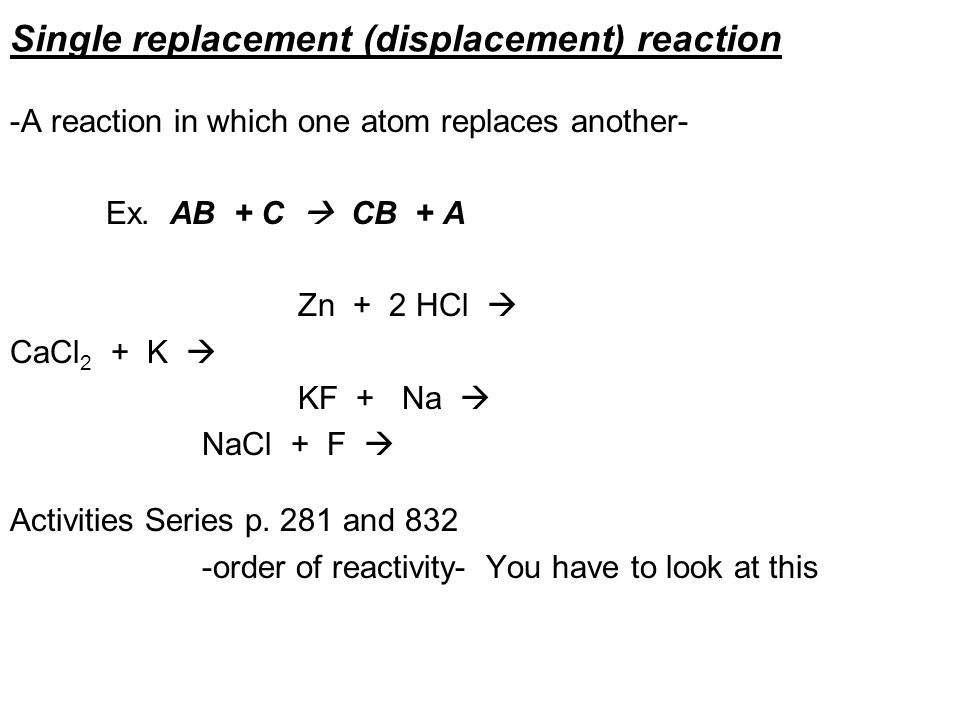 Single replacement (displacement) reaction