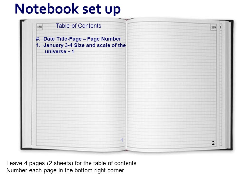 Notebook set up Table of Contents