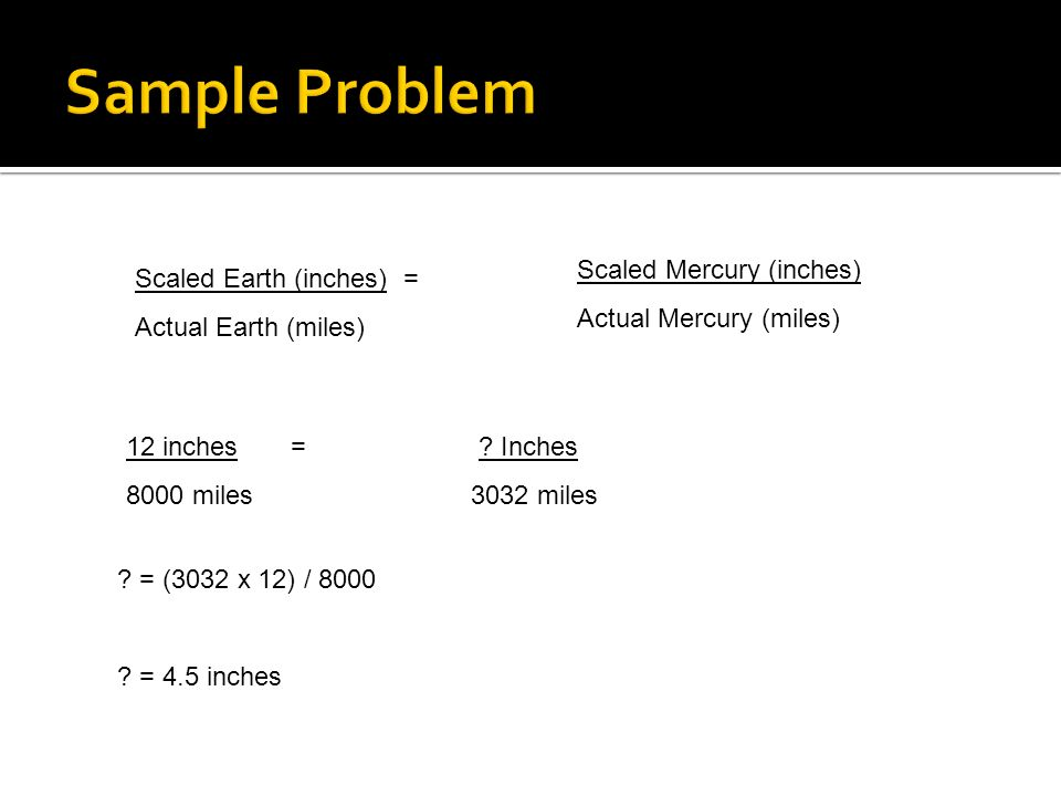 Sample Problem Scaled Mercury (inches) Actual Mercury (miles)