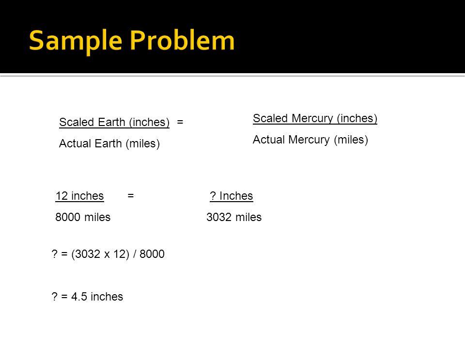 Sample Problem Scaled Mercury (inches) Actual Mercury (miles)