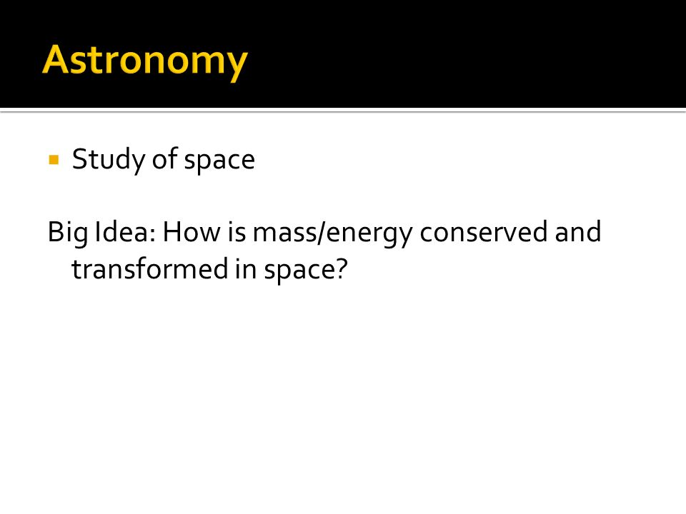 Astronomy Study of space
