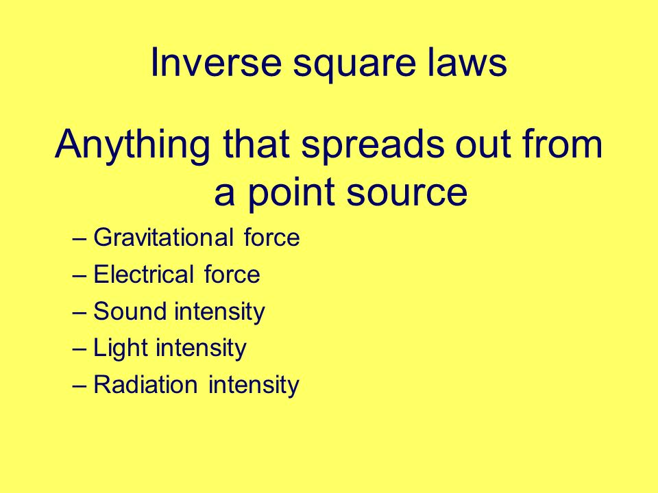 Anything that spreads out from a point source