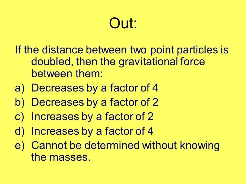 Out: If the distance between two point particles is doubled, then the gravitational force between them:
