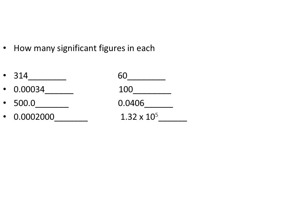 How many significant figures in each