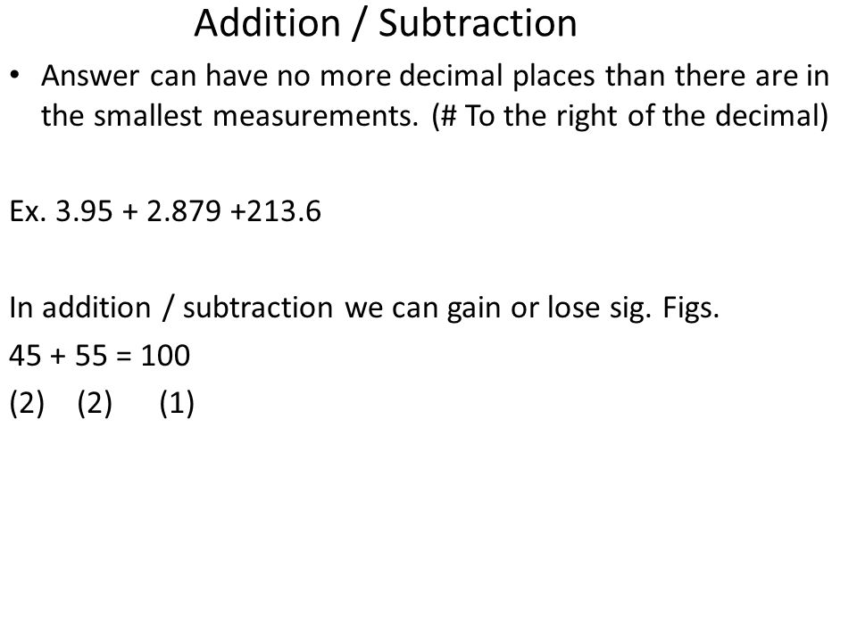 Addition / Subtraction