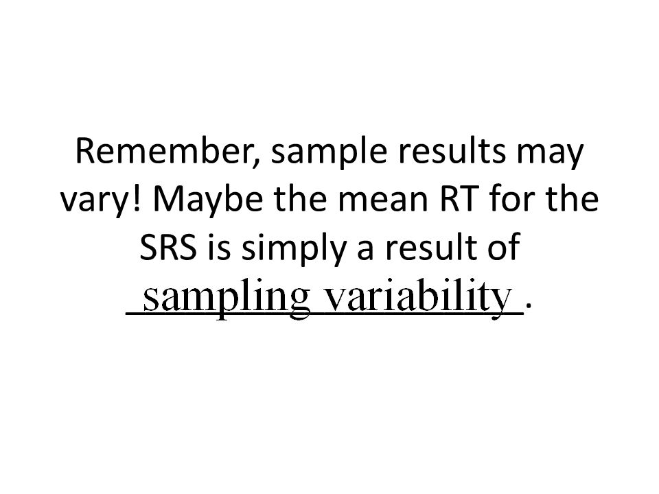 Remember, sample results may vary