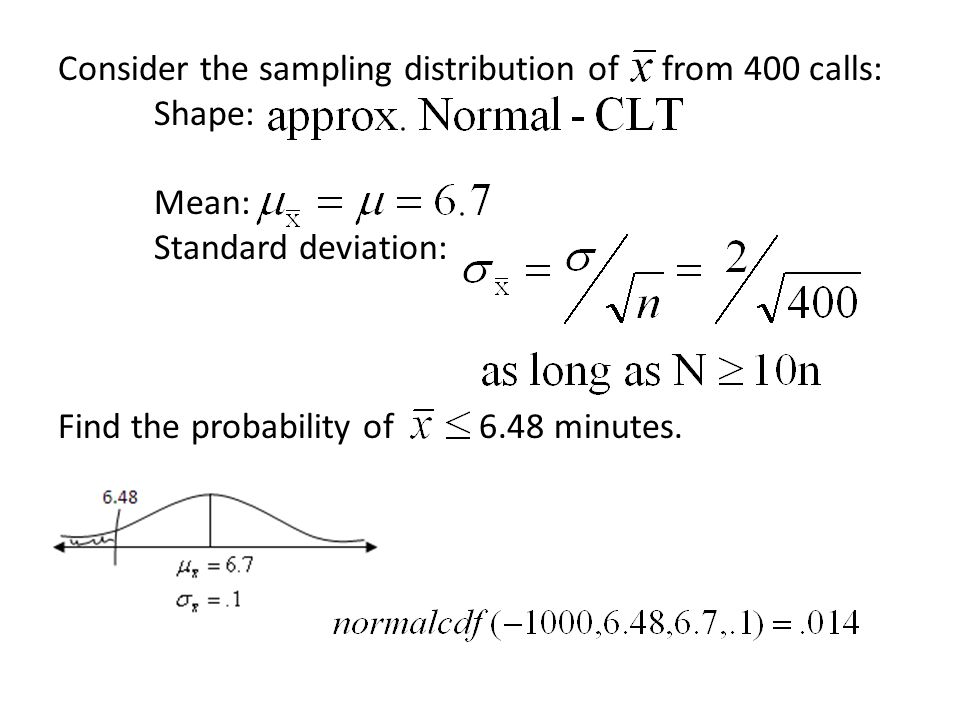 Consider the sampling distribution of from 400 calls:. Shape:. Mean:
