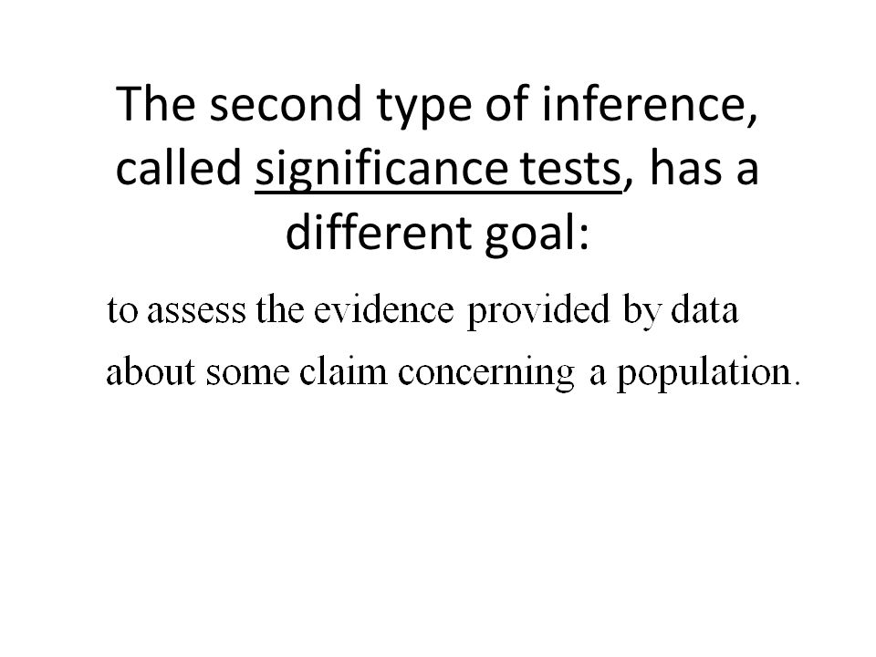 The second type of inference, called significance tests, has a different goal: