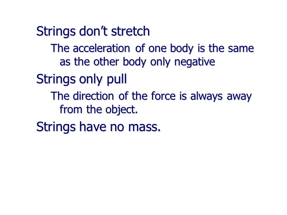Strings don't stretch Strings only pull Strings have no mass.