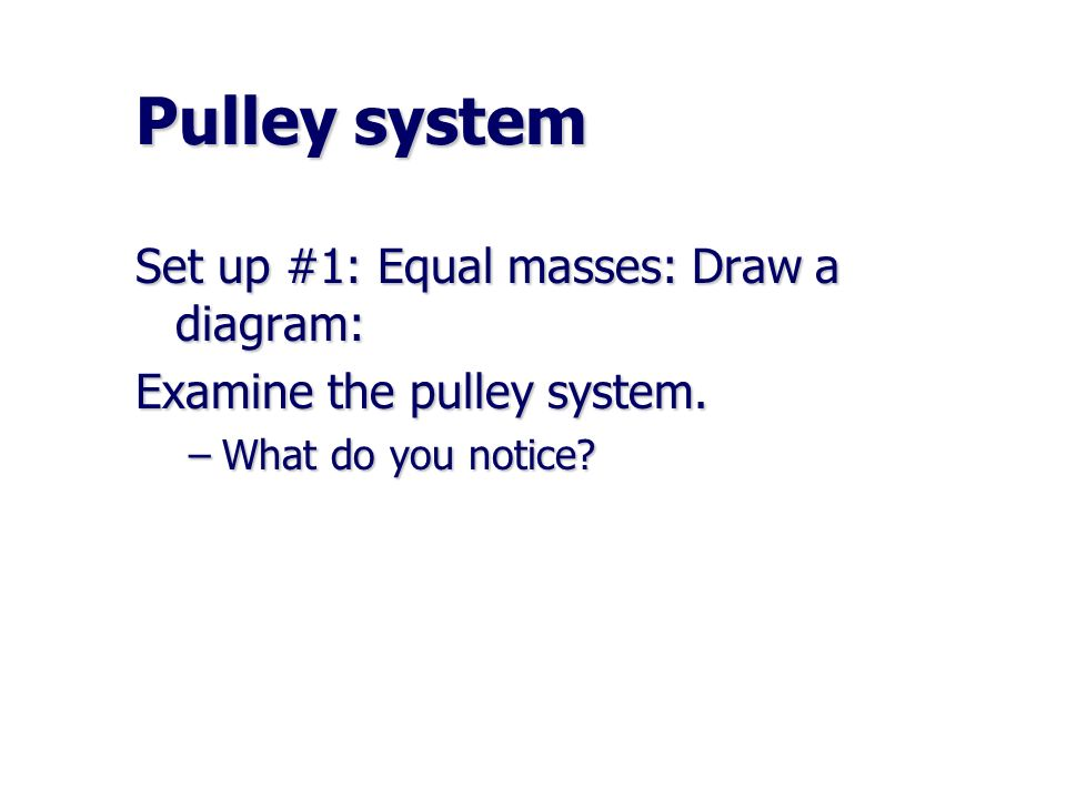 Pulley system Set up #1: Equal masses: Draw a diagram:
