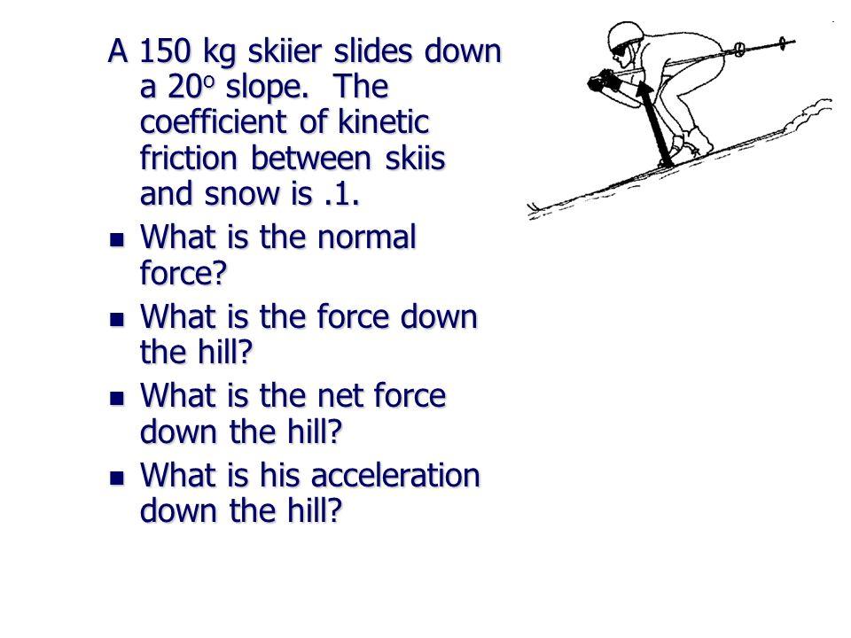 A 150 kg skiier slides down a 20o slope
