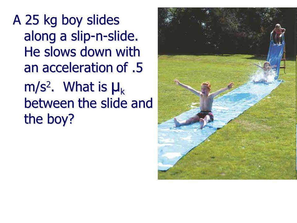 A 25 kg boy slides along a slip-n-slide