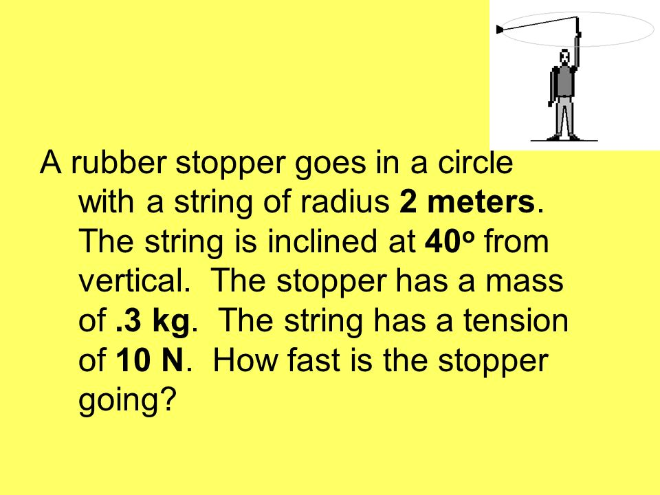 A rubber stopper goes in a circle with a string of radius 2 meters