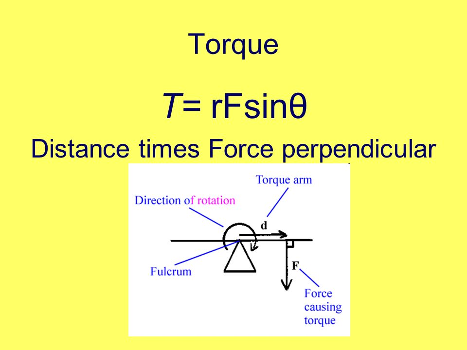 Distance times Force perpendicular