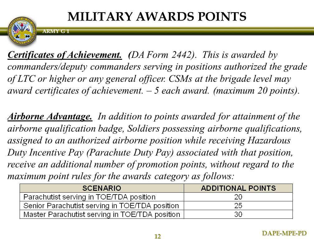 da form 2442 certificate of achievement template - semi centralized promotions ppt download
