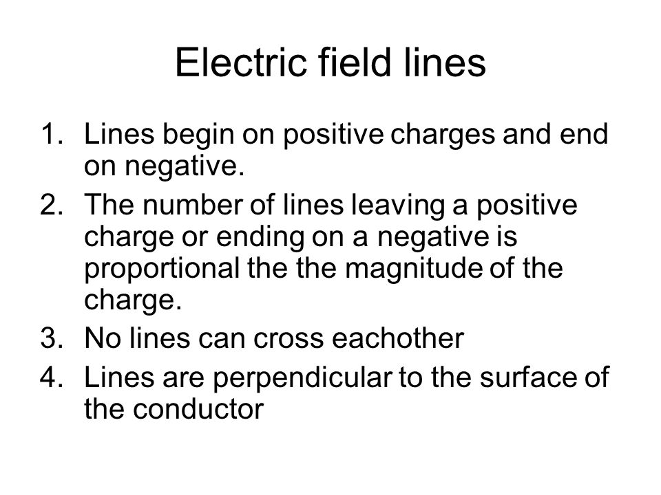 Electric field lines Lines begin on positive charges and end on negative.
