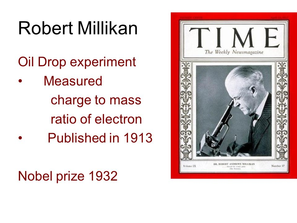 Robert Millikan Oil Drop experiment Measured charge to mass