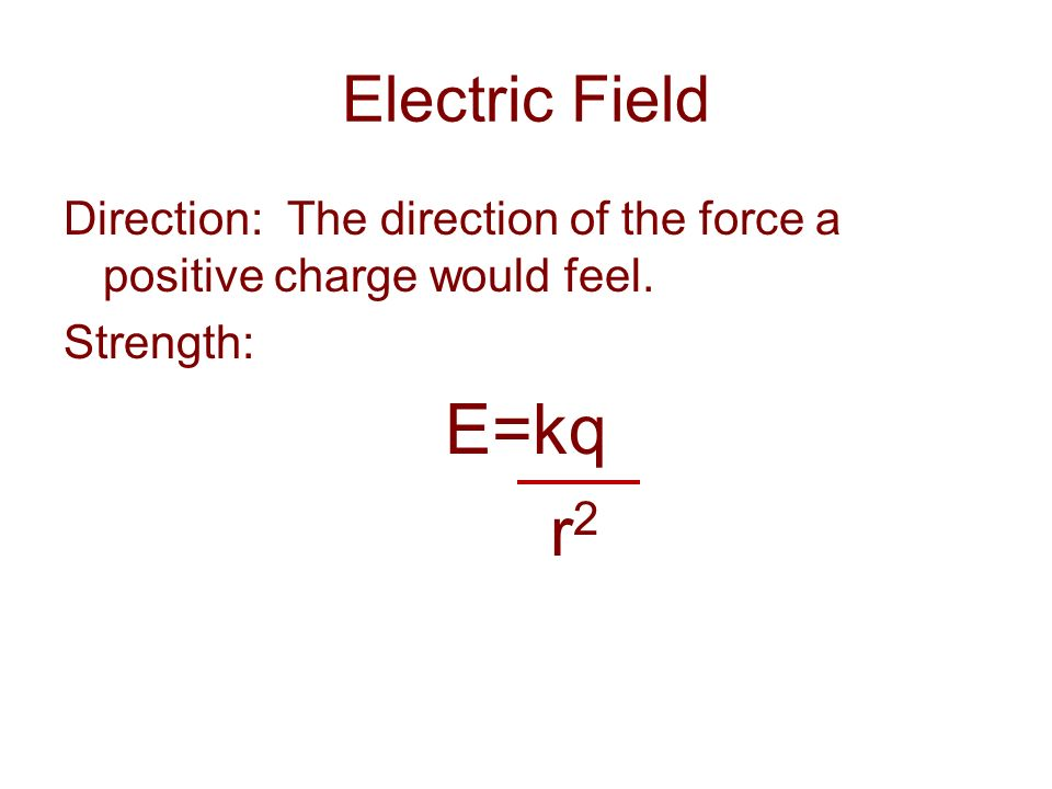 Electric Field Direction: The direction of the force a positive charge would feel. Strength: E=kq.
