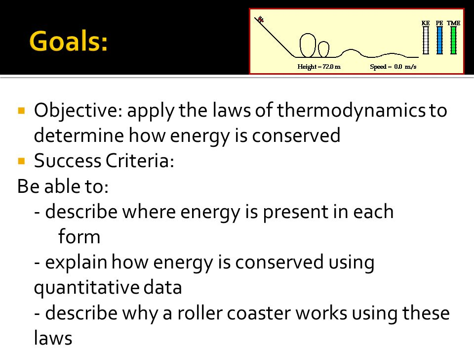 Goals: Objective: apply the laws of thermodynamics to determine how energy is conserved. Success Criteria: