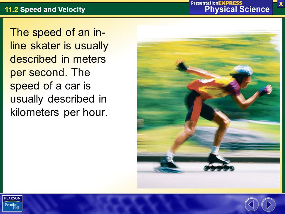 The speed of an in-line skater is usually described in meters per second.