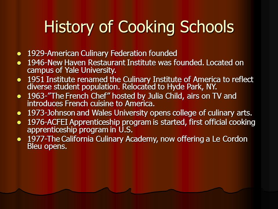 history of culinary arts Culinary arts, in which culinary means related to cooking, are the arts of  preparation, cooking  history of culinary archives & museum np, nd web  17 sept 2013 history of culinary culinary arts information rss np,nd web 17.
