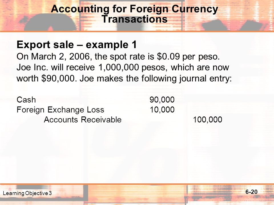 Foreign exchange sales