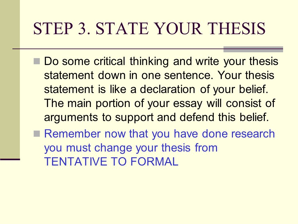 a tentative thesis statement Creating a thesis statement a thesis statement is a one or two-sentence summary of the central analysis or argument of an essay while the traditional location for a thesis is the last sentence of the first paragraph of an essay, locating.
