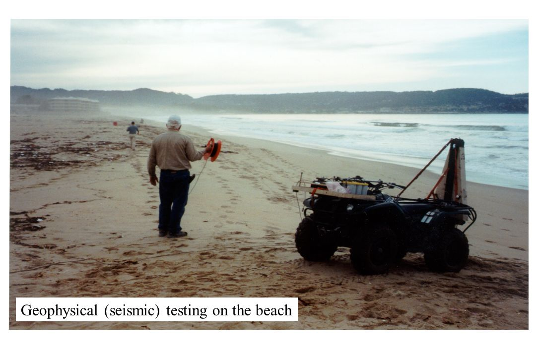 Geophysical (seismic) testing on the beach