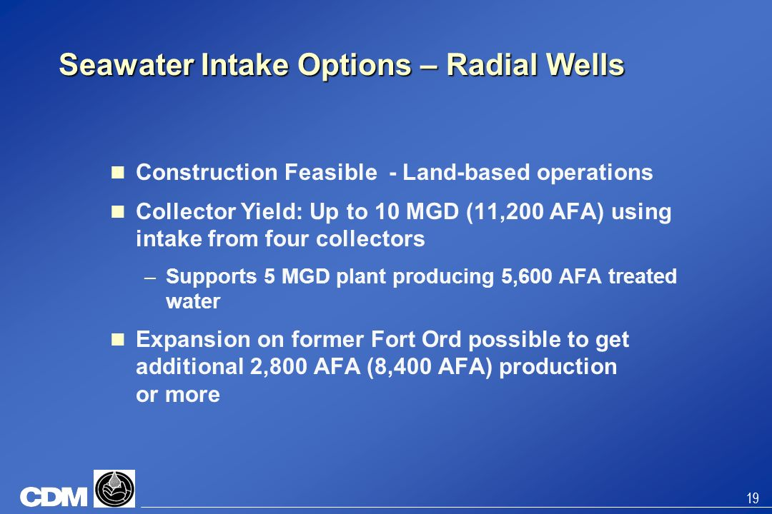 Seawater Intake Options – Radial Wells