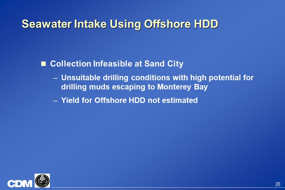 Seawater Intake Using Offshore HDD