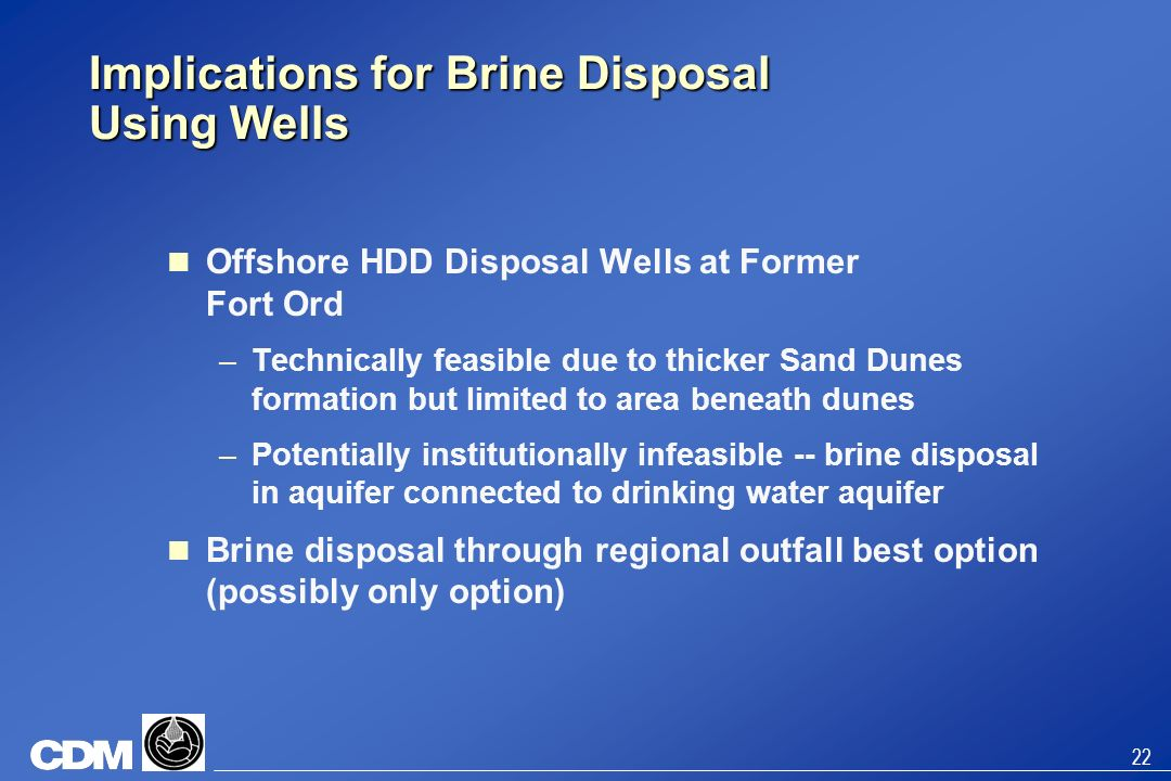 Implications for Brine Disposal Using Wells