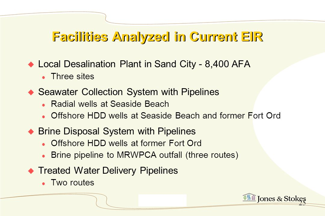 Facilities Analyzed in Current EIR
