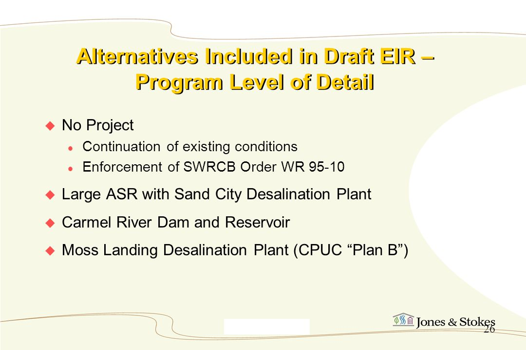 Alternatives Included in Draft EIR – Program Level of Detail