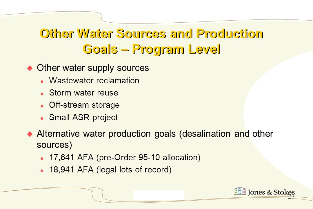 Other Water Sources and Production Goals – Program Level