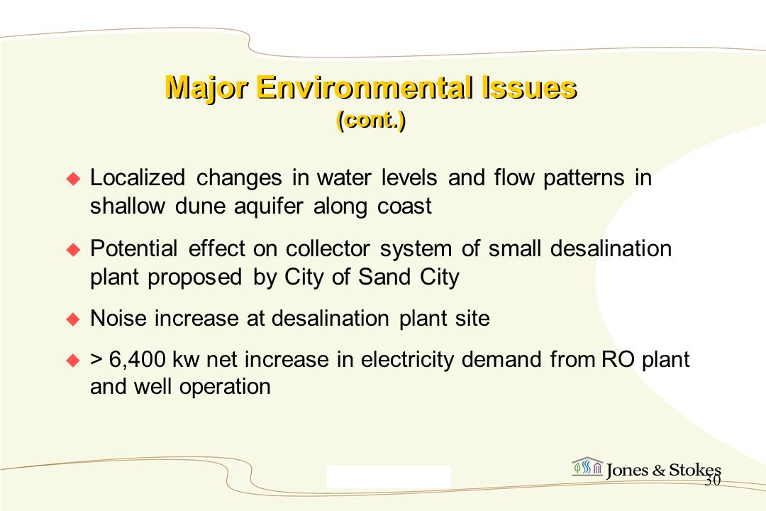Major Environmental Issues (cont.)