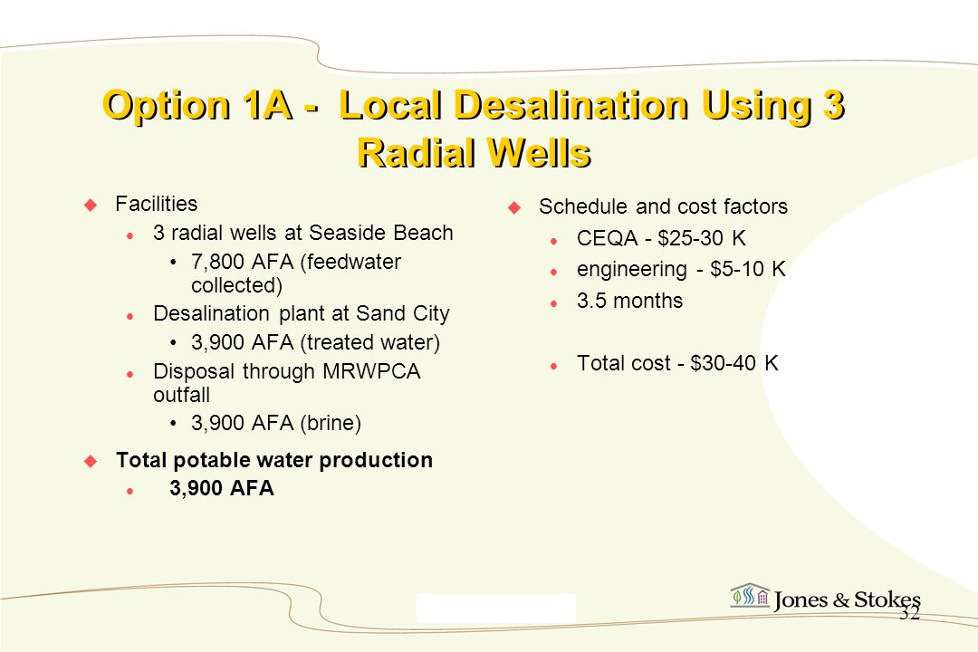 Option 1A - Local Desalination Using 3 Radial Wells