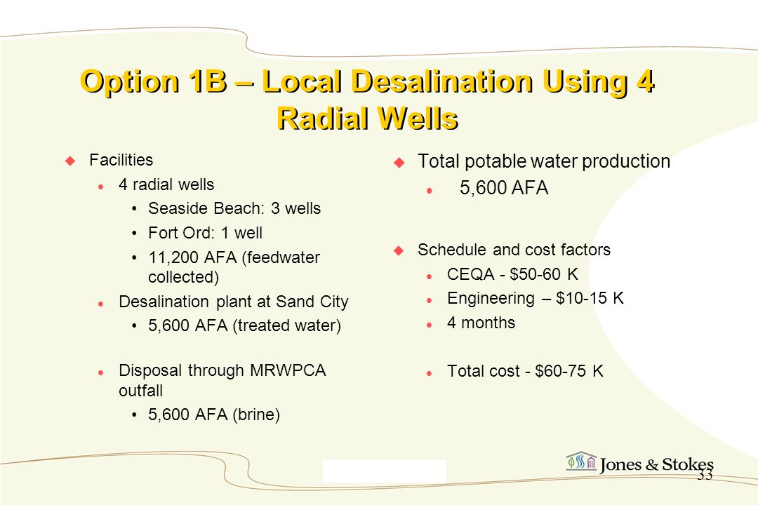 Option 1B – Local Desalination Using 4 Radial Wells
