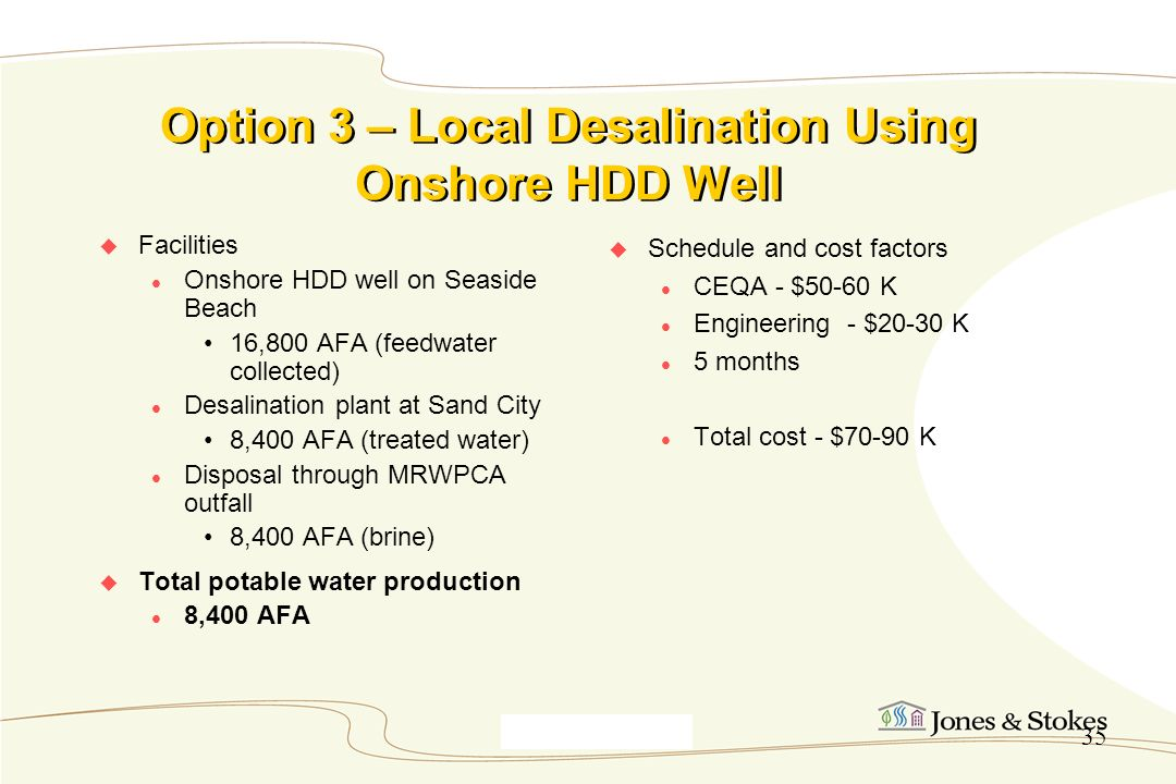 Option 3 – Local Desalination Using Onshore HDD Well