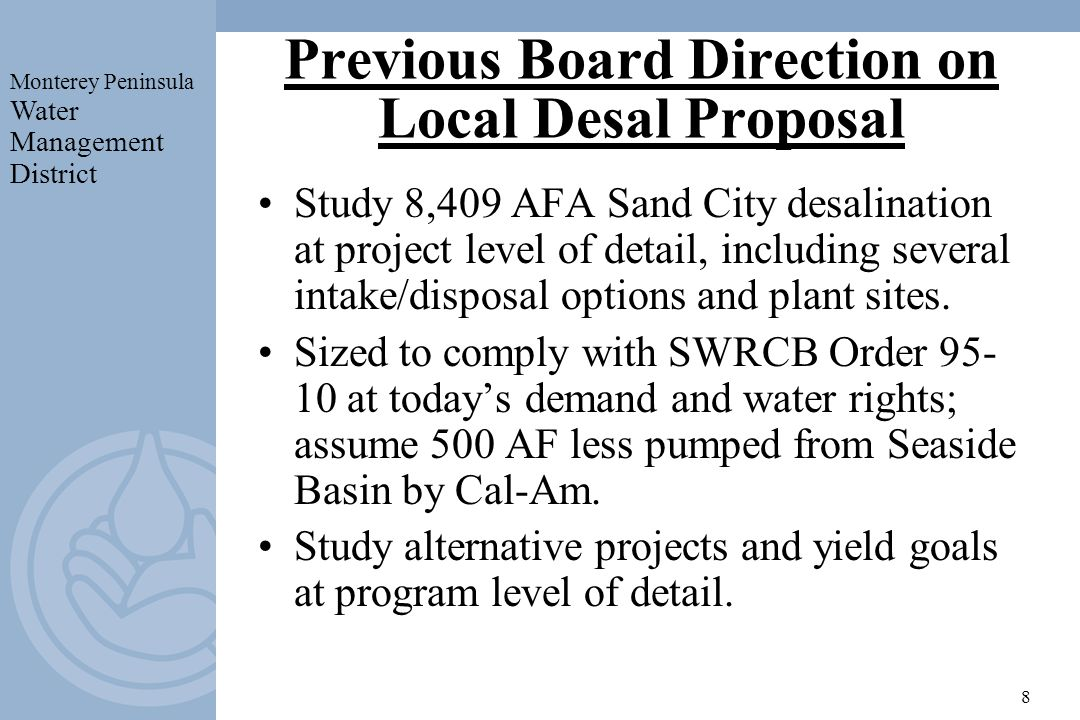 Previous Board Direction on Local Desal Proposal